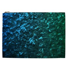 Ocean Blue and Aqua Mother of Pearl Nacre Pattern Cosmetic Bag (XXL)