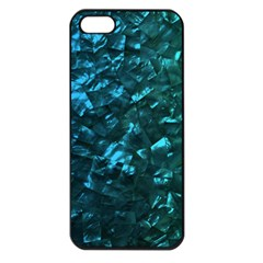 Ocean Blue and Aqua Mother of Pearl Nacre Pattern Apple iPhone 5 Seamless Case (Black)