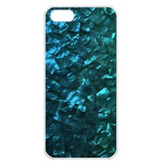Ocean Blue and Aqua Mother of Pearl Nacre Pattern Apple iPhone 5 Seamless Case (White)