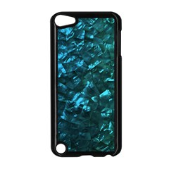 Ocean Blue and Aqua Mother of Pearl Nacre Pattern Apple iPod Touch 5 Case (Black)
