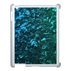 Ocean Blue and Aqua Mother of Pearl Nacre Pattern Apple iPad 3/4 Case (White)