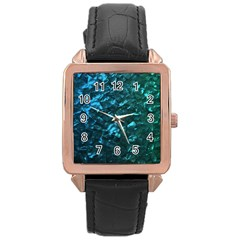 Ocean Blue and Aqua Mother of Pearl Nacre Pattern Rose Gold Leather Watch