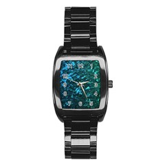 Ocean Blue and Aqua Mother of Pearl Nacre Pattern Stainless Steel Barrel Watch