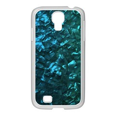 Ocean Blue and Aqua Mother of Pearl Nacre Pattern Samsung GALAXY S4 I9500/ I9505 Case (White)