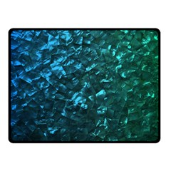 Ocean Blue and Aqua Mother of Pearl Nacre Pattern Double Sided Fleece Blanket (Small)