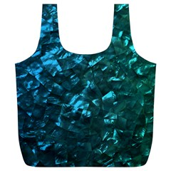 Ocean Blue and Aqua Mother of Pearl Nacre Pattern Full Print Recycle Bags (L)
