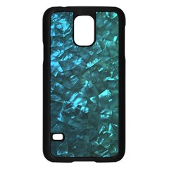 Ocean Blue and Aqua Mother of Pearl Nacre Pattern Samsung Galaxy S5 Case (Black)