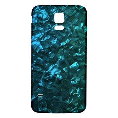 Ocean Blue and Aqua Mother of Pearl Nacre Pattern Samsung Galaxy S5 Back Case (White)