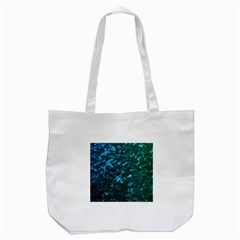 Ocean Blue and Aqua Mother of Pearl Nacre Pattern Tote Bag (White)