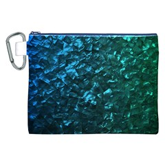 Ocean Blue And Aqua Mother Of Pearl Nacre Pattern Canvas Cosmetic Bag (xxl)