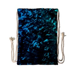 Ocean Blue and Aqua Mother of Pearl Nacre Pattern Drawstring Bag (Small)