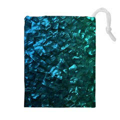 Ocean Blue and Aqua Mother of Pearl Nacre Pattern Drawstring Pouches (Extra Large)