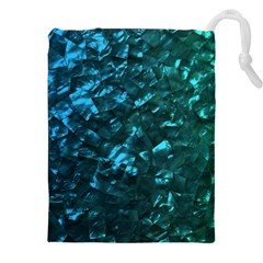Ocean Blue and Aqua Mother of Pearl Nacre Pattern Drawstring Pouches (XXL)