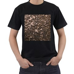 Glitter Rose Gold Shimmering Mother of Pearl Nacre Men s T-Shirt (Black) (Two Sided)