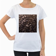 Glitter Rose Gold Shimmering Mother of Pearl Nacre Women s Loose-Fit T-Shirt (White)