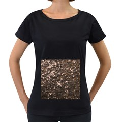 Glitter Rose Gold Shimmering Mother of Pearl Nacre Women s Loose-Fit T-Shirt (Black)