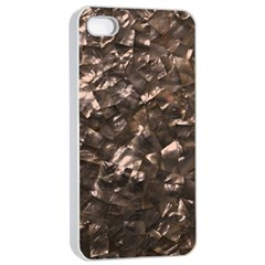 Glitter Rose Gold Shimmering Mother of Pearl Nacre Apple iPhone 4/4s Seamless Case (White)