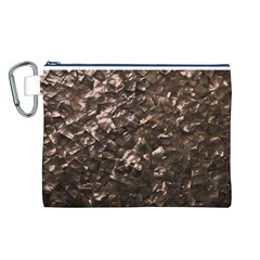 Glitter Rose Gold Shimmering Mother of Pearl Nacre Canvas Cosmetic Bag (L)
