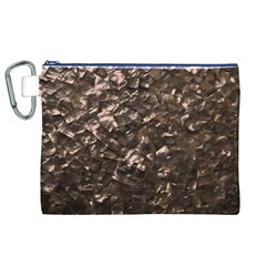 Glitter Rose Gold Shimmering Mother of Pearl Nacre Canvas Cosmetic Bag (XL)