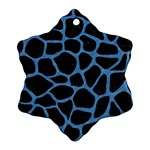 SKIN1 BLACK MARBLE & BLUE COLORED PENCIL (R) Ornament (Snowflake) Front