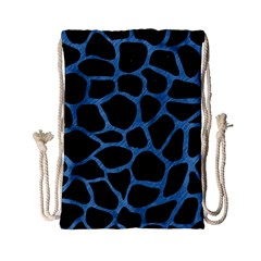 Skin1 Black Marble & Blue Colored Pencil (r) Drawstring Bag (small)