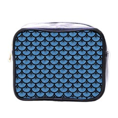Scales3 Black Marble & Blue Colored Pencil (r) Mini Toiletries Bag (one Side)
