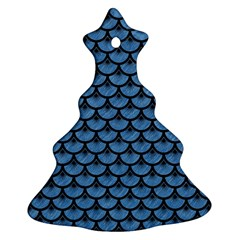 Scales3 Black Marble & Blue Colored Pencil (r) Ornament (christmas Tree)