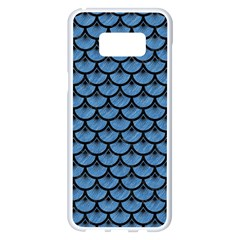 Scales3 Black Marble & Blue Colored Pencil (r) Samsung Galaxy S8 Plus White Seamless Case