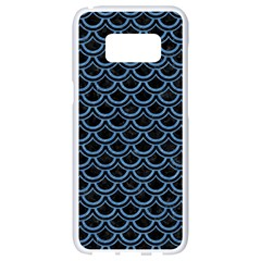 Scales2 Black Marble & Blue Colored Pencil Samsung Galaxy S8 White Seamless Case