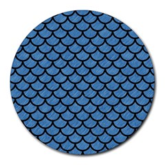 Scales1 Black Marble & Blue Colored Pencil (r) Round Mousepad