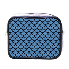Scales1 Black Marble & Blue Colored Pencil (r) Mini Toiletries Bag (one Side)
