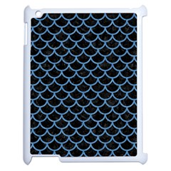 Scales1 Black Marble & Blue Colored Pencil Apple Ipad 2 Case (white)