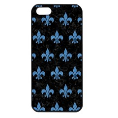 Royal1 Black Marble & Blue Colored Pencil (r) Apple Iphone 5 Seamless Case (black)