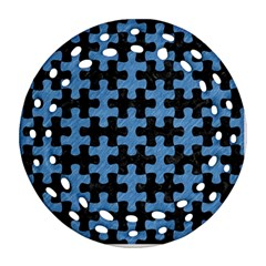 Puzzle1 Black Marble & Blue Colored Pencil Round Filigree Ornament (two Sides)