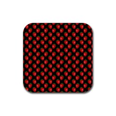 Fresh Bright Red Strawberries on Black Pattern Rubber Coaster (Square)