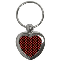 Fresh Bright Red Strawberries on Black Pattern Key Chains (Heart)