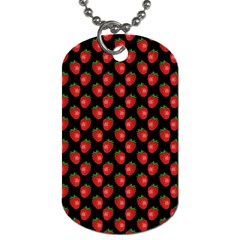 Fresh Bright Red Strawberries on Black Pattern Dog Tag (Two Sides)