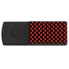 Fresh Bright Red Strawberries on Black Pattern USB Flash Drive Rectangular (1 GB)