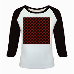 Fresh Bright Red Strawberries on Black Pattern Kids Baseball Jerseys