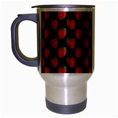 Fresh Bright Red Strawberries on Black Pattern Travel Mug (Silver Gray)
