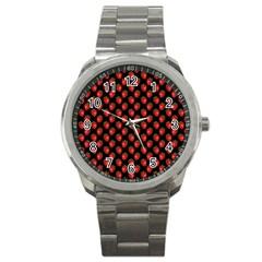 Fresh Bright Red Strawberries on Black Pattern Sport Metal Watch