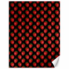 Fresh Bright Red Strawberries on Black Pattern Canvas 12  x 16