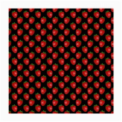 Fresh Bright Red Strawberries on Black Pattern Medium Glasses Cloth