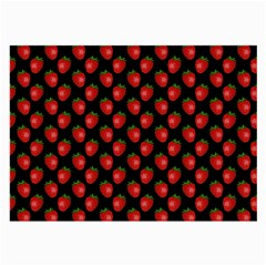 Fresh Bright Red Strawberries on Black Pattern Large Glasses Cloth (2-Side)