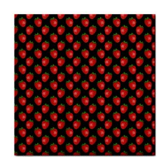 Fresh Bright Red Strawberries on Black Pattern Face Towel