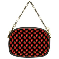 Fresh Bright Red Strawberries on Black Pattern Chain Purses (One Side)