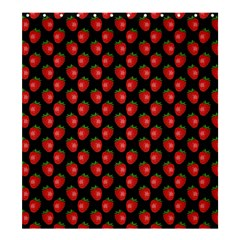 Fresh Bright Red Strawberries on Black Pattern Shower Curtain 66  x 72  (Large)