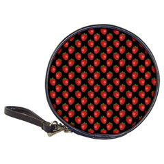 Fresh Bright Red Strawberries on Black Pattern Classic 20-CD Wallets