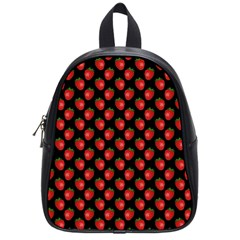 Fresh Bright Red Strawberries on Black Pattern School Bags (Small)