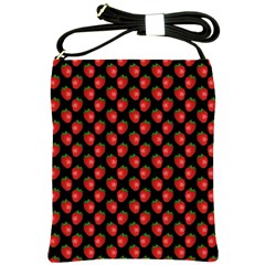Fresh Bright Red Strawberries on Black Pattern Shoulder Sling Bags